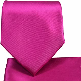Oliver George Solid NeckTie & Matching Pocket Square Handkerchief Set