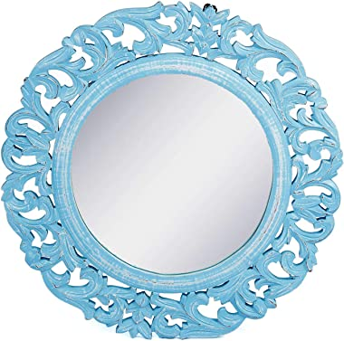 """The Urban Store Wood Hand Crafted Round Shape Vanity Wall Mirror Glass for Living Room, 20""""X 20"""" Blue"""