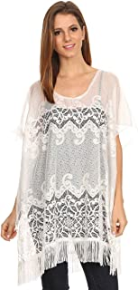 LL- Womens Chiffon Caftan Poncho Tunic Cover Up Top Summer Spring Many Styles