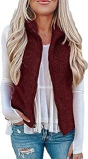 Womens Fuzzy Fleece Vest Warm Zip Up Casual Sleeveless Cardigan with Pockets Outerwear