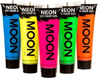 Moon Glow - Blacklight Neon UV Hair Gel - 0.67oz Set of 5 tubes – Temporary wash out hair color - Spike and Glow!