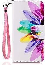 LG G6 Case, LG G6 Wallet Case,G6 Case, JanCalm [Wrist Strap] [Kickstand] [Card/Cash Slots] Pattern Premium PU Leather Wallet Cell Phone Cases Flip Cover + Crystal Pen (Rainbow Flower)