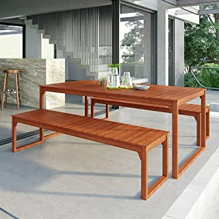 8 Seater Dining Set Eucalyptus Timber Weather-Resistant Bench and Table, Natural