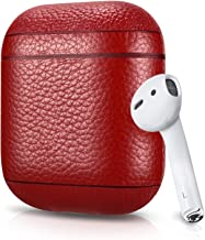 Leather Case For Apple AirPods, Pebble Series - Air Vinyl Design, Protective Case Cover (Red)