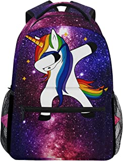 ZZKKO Space Galaxy Animal Unicorn Boys Girls School Computer Backpacks Book Bag Travel Hiking Camping Daypack