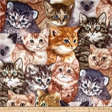 Baum Winterfleece Kittens, Fabric by the Yard