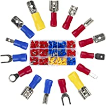 Wire Terminal Crimp connectors,280pcs Small Wire Crimp Electrical connectors Insulated Spade Set,Color Red Yellow Blue, 16 Types 22-10 AWG US and EU Standard Copper PVC Tinplate