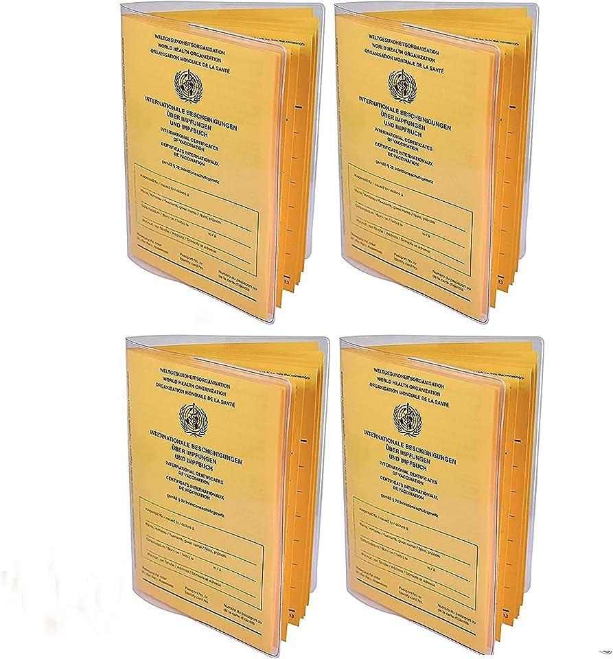 Impfpass Hülle 4er Set neuer Impfpass 93 x 130 mm, 2021 Internationaler Impfpass Impfausweis, Schutzhülle Impfausweis - Reißfeste Impfpasshülle - Etui für die Impfbescheinigung