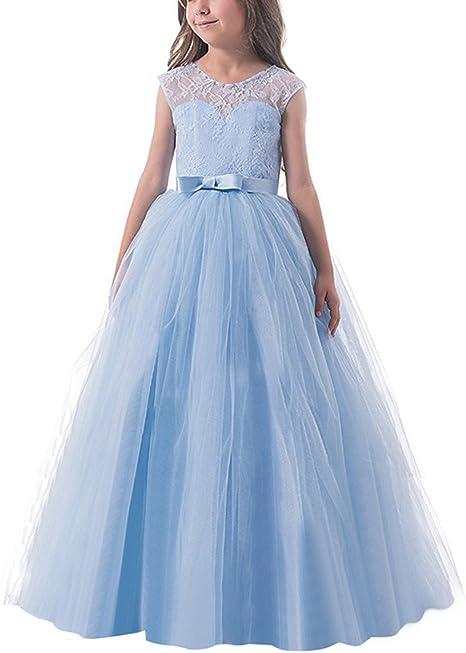 Nnjxd Nnjxd Madchen Kinder Spitze Tull Hochzeit Kleid Prinzessin Kleider Erstkommunion Kleid Kleider Amazon De Bekleidung