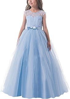 NNJXD Ragazze Pizzo Applique Ricamato Hollow Wedding Bridesmaid Ball Gown Pageant Comunione Cerimonia Festa di Compleanno ...