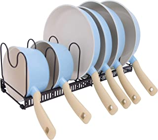 GRANNY SAYS Adjustable Kitchen Pot Organizer Rack, 6 Adjustable Compartments, Cabinet Bakeware Pan/Pot/Lid Holder Rack Organizer, Extended to 23