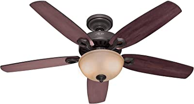 """HUNTER 53091 Builder Deluxe Indoor Ceiling Fan with LED Light and Pull Chain Control, 52"""", New Bronze"""