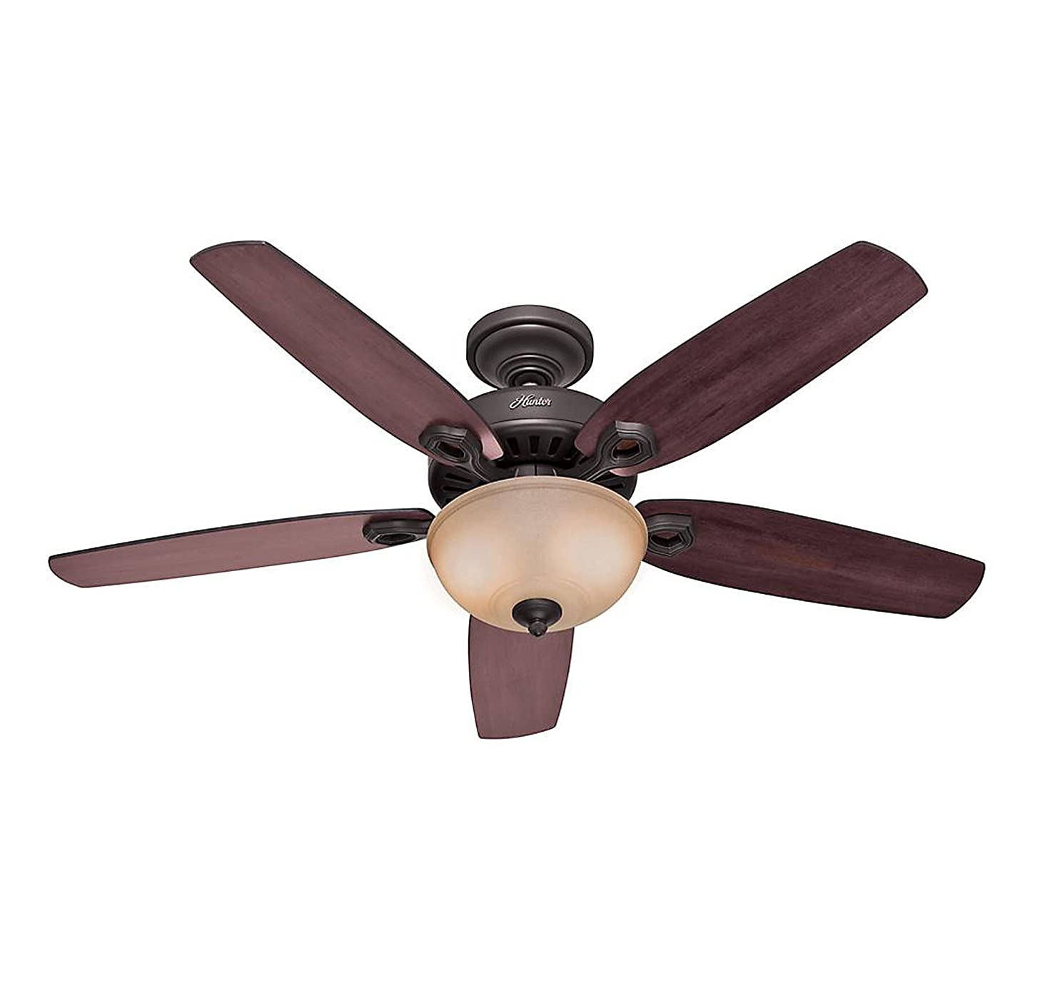 Hunter 53091 Builder Deluxe 5-Blade Single Light Ceiling Fan with Brazilian Cherry/Stained Oak Blades and Piped Toffee Glass Light Bowl, 52-Inch, New Bronze bpyvoulfo
