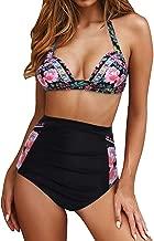 Walant Women's Halter Geometric Print High Waisted Swimsuit Bathing Suits Bikini