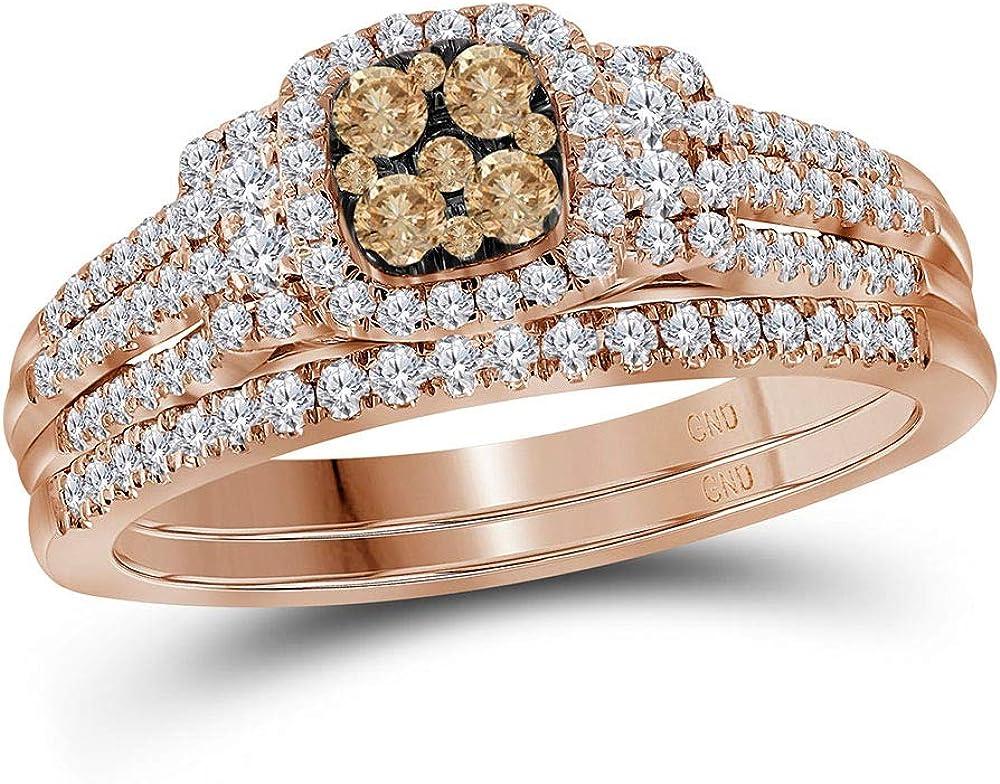 14kt Rose Gold Womens Round Brown Diamond Bridal Wedding Ring Band Set 1/2 Cttw