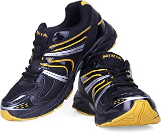 Nivia Men's Arnold Mesh PU Black and Yellow Running Shoes