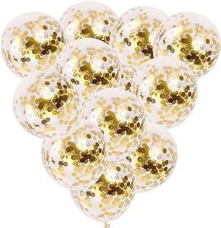 12 PCS Gold Confetti Balloons Bulk, 12 inches Giant Metallic Confetti Filled Round Balloon Set, for Party, Wedding, Birthd...