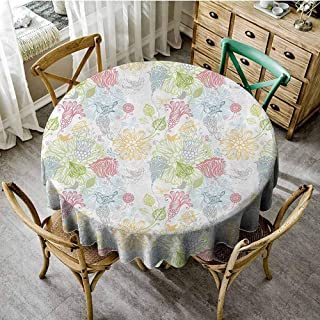 Playyee Overlays Round Tablecloth Spring,Soft Toned Flowers Birds Butterflies Leaves Branches Embellished Dreamy Nature Image,Multicolor Jacquard Tablecloth Diameter 70