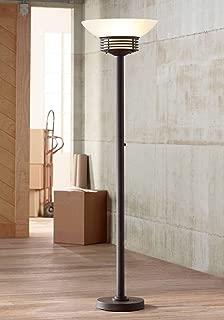 Light Blaster Modern Retro Torchiere Floor Lamp Warm Bronze White Frosted Glass Bowl Shade for Living Room Bedroom Uplight - Possini Euro Design