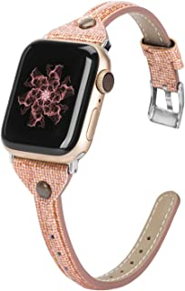 Wearlizer Thin Leather Compatible with Apple Watch Bands 38mm 40mm for iWatch Womens Slim Smooth Bling Strap Leisure Cute Glitter Rivet Shiny Wristband (Silver Clasp) Series 5 4 3 2 1 Sport-Deep Gold