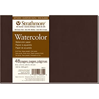 """Strathmore 483-5 Softcover Watercolor Art Journal, 8"""" x 5.5"""", White, 24 Sheets"""