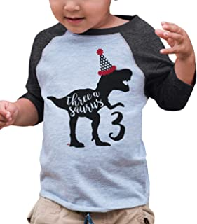 7 ate 9 Apparel ThreeBirthday Dinosaur Grey Baseball Tee