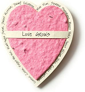 Bloomin Mini Pink Heart-Shaped Seed Paper Enclosure Cards 9 Card Set - Perfect for Valentine's Day, Mother's Day and Wedding Anniversaries! Size: 2.25 x 2.25