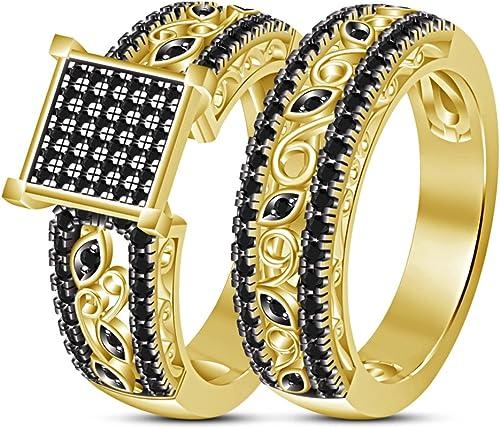 Vorra Fashion Damen Brautschmuck Engagement Ring Band Set in 925 erling Silber 14 VerGoldet