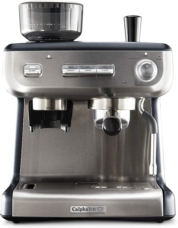 Calphalon Temp IQ Espresso Machine with Grinder & Steam Wand, Stainless