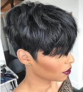 VRZ Short Pixie Wavy Wigs Human Hair Wigs for Women Black Pixie Cut Wigs Color 1B