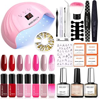 Modelones Gel Polish Kit with UV light - Red Pink Series 7 Colors Gel Nail Starter Kit with 36W UV LED Nail Lamp, Home Man...