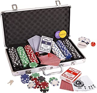 Fichas de póquer, Fichas de Poker Poker Set Set dados Naipes conjunto de chips Dados Estilo de póquer con Estuche Poker Set 300pc 11,5 g fichas de juego Ideal para fichas de juego de casino solitario