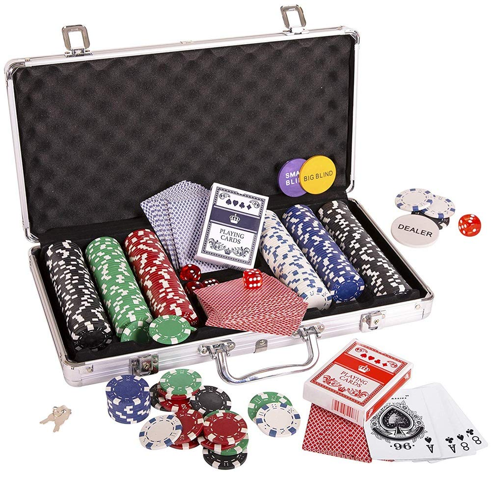 Fichas de póquer, Fichas de Poker Poker Set Set dados Naipes conjunto de chips Dados Estilo de póquer con Estuche Poker Set 300pc 11,5 g fichas de juego Ideal para fichas de