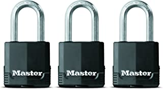 Master Lock Padlock, Magnum Covered Laminated Steel Lock, 1-7/8 in. Wide, M115XTRILF (Pack of 3-Keyed Alike)