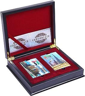 Bospyaf Tarjetas de Papel de lámina de Oro Regalos de Alta Gama de Madera Caja de Madera póker Helado Impermeable,Mm~01