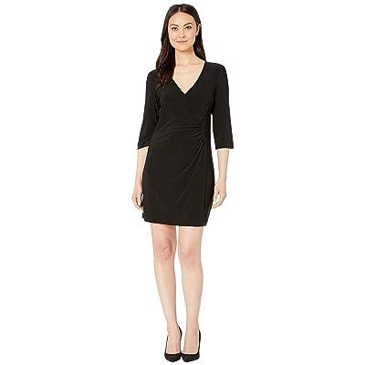 Laundry by Shelli Segal Faux Wrap Dress (Black) Women