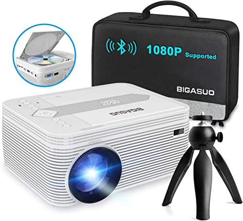 BIGASUO [2021 Upgrade] Full HD Bluetooth Projector with Built-in DVD Player, Portable Mini Projector Compatible with ...