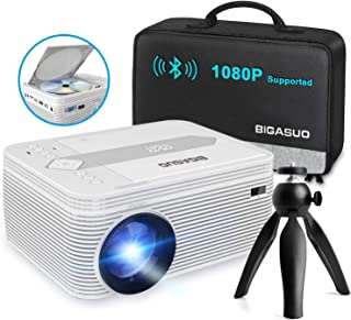 BIGASUO [2021 Upgrade] Full HD Bluetooth Projector with Built-in DVD Player, Portable Mini Projector Compatible with iPhon...