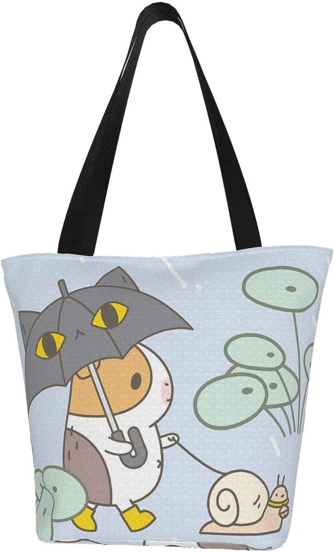 Guinea Pig Cute Art Rain Cartoon Themed Printed Women Canvas Handbag Zipper Shoulder Bag Work Booksbag Tote Purse Leisure Hobo Bag For Shopping