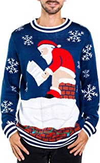 Men's Santa Pooping Ugly Christmas Sweater - Funny Santa Xmas Sweater