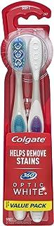 مسواک سفید سفید سفید Colgate 360 Optic ، نرم - 2 تعداد