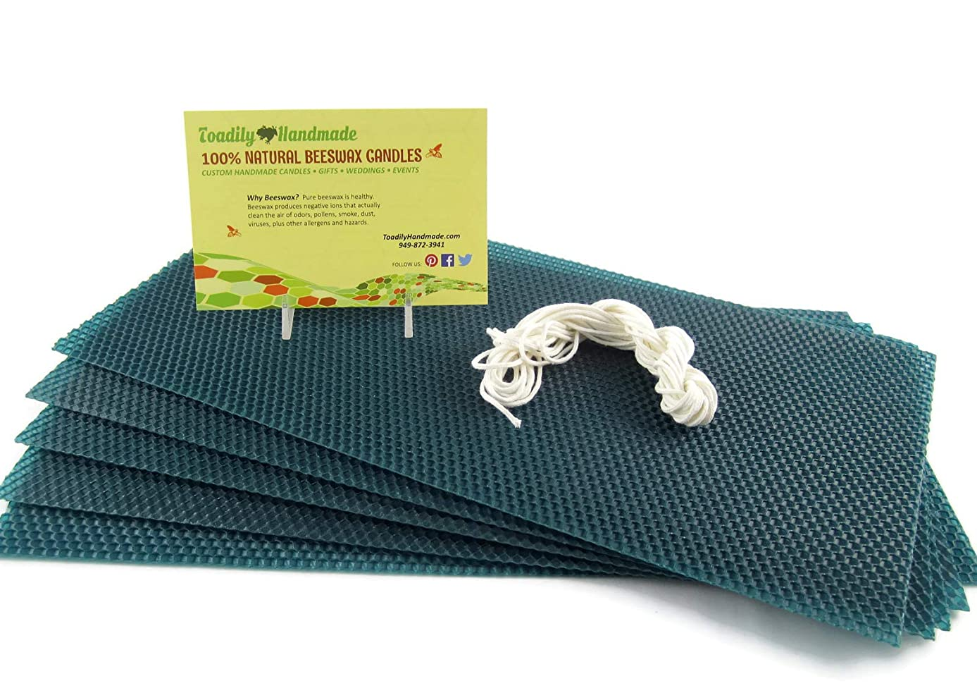 Make Your Own Beeswax Candle Starter Kit - Includes 5 Full Size 100% Beeswax Honeycomb Sheets in Forest Green and Approx. 6 Yards of Cotton Wick. Each Beeswax Sheet Measures Approx. 8