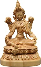 Natural Boxwood Carved Green Tara Goddess Statue