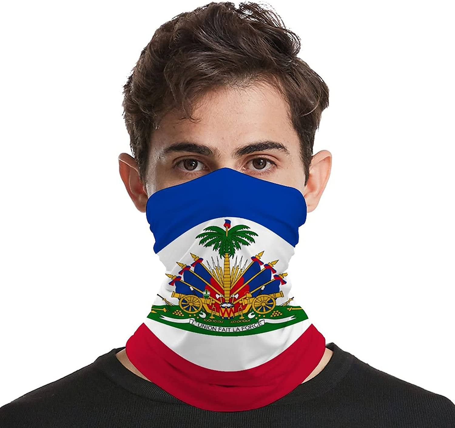 Multifunction Neck Gaiter face Mask for Cooling Summer,Haiti Flag Unisex Breathable Bandana Seamless Balaclavas for Dust Outdoor Fishing and Sports Face Cover Scarf