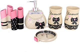 5pcs Bathroom Accessory Set - Tumbler, Soap Dish, Liquid Soap Dispenser, Toothbrush Holder-Girl Gifts