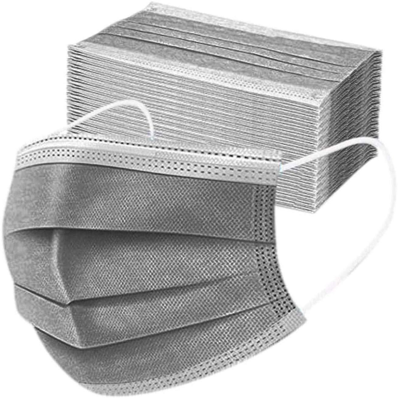 50pcs -3ply Protección de Nariz y Boca, Embalaje higiénico Adecuado para Oficina, Exterior,VERNASSA, Gris