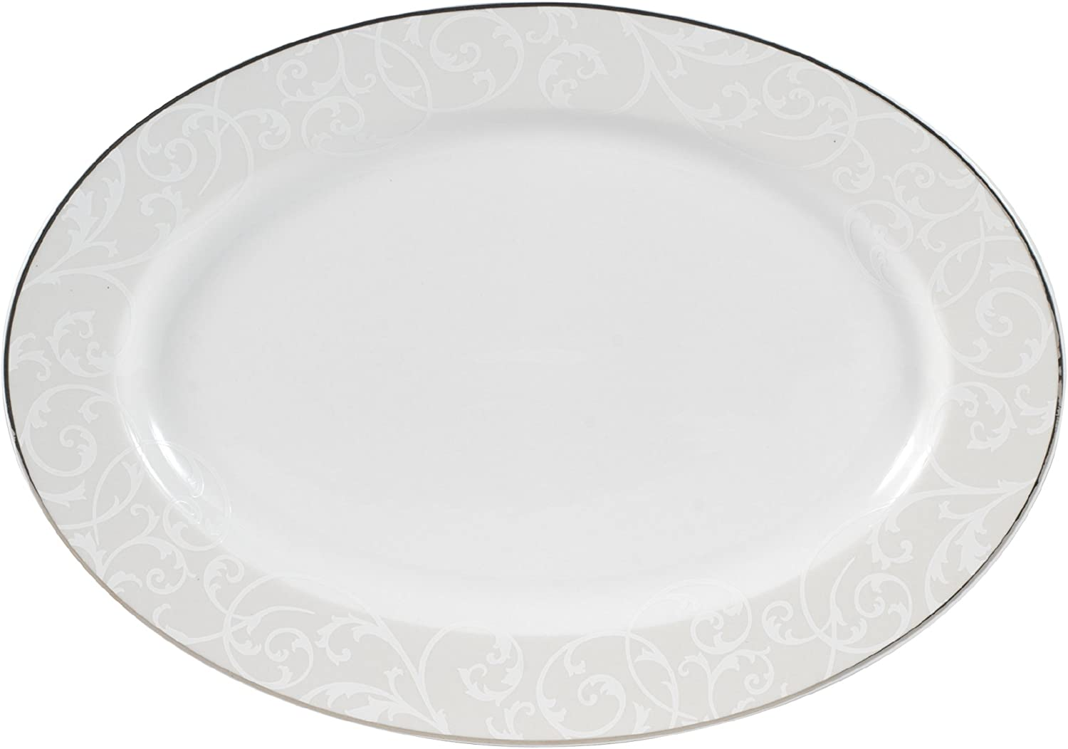 Mikasa Parchment Modern Oval Serving Platter,14-Inch