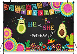 COMOPHOTO Fiesta He or She-esta Gender Reveal Party Backdrop 7x5ft Holy Guacamole Taco Bout a Baby He or She Fiesta Photography Background Avocado Mexican Fiesta Baby Shower Decoration Backdrop