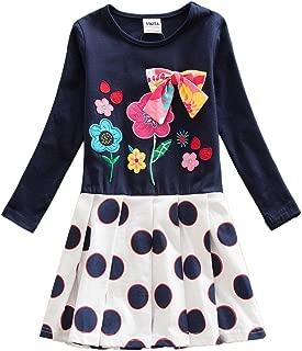 VIKITA Baby Girl Cartoon Flower Cotton Dress Long Sleeve Winter Dresses for 2-8 Years Little Girls