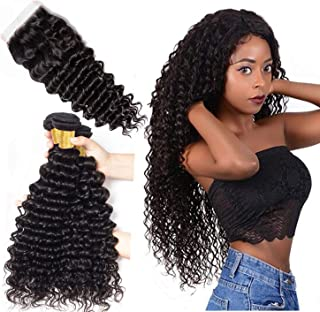 Brazilian Deep Wave 3 Bundles with Closure (10 12 14 with 10 inch) 9A Unprocessed Human Virgin Hair Deep Curly Hair Bundles with 4x4 Lace Closure